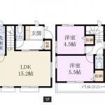敷地面積113.83㎡(34.43坪)、建物面積76.39㎡(23.10坪)(間取)