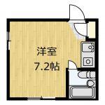 7.2帖の角部屋1R☆(間取)