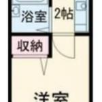 7帖洋室の1K。最上階のお部屋です☆(間取)